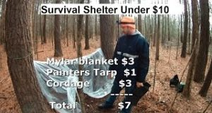 Under-10-Camping-Shelter-1-Mylar-blanket-Cordage-and-Painters-Tarp